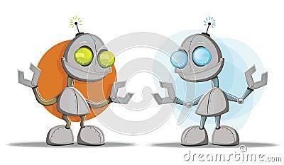 Mascotas del personaje de dibujos animados del robot
