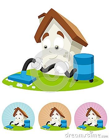 mascote dos desenhos animados da casa limpando a casa foto de stock royalty free imagem. Black Bedroom Furniture Sets. Home Design Ideas