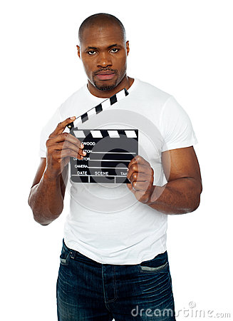 Masculine African Male Holding Clapperboard Royalty Free Stock Photo - Image: 25162275
