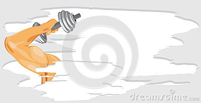 Masculine hand with dumbbell. Sport banner