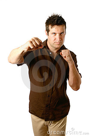 Masculine man in boxing stance