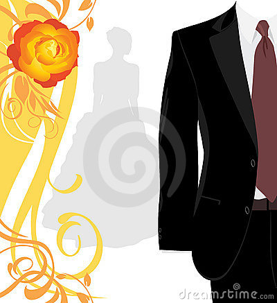 Masculine suit and silhouette of fiancee