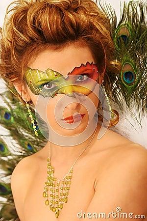 Woman Fantasy Makeup, Fashion Model Mask Make Up, Carnival Face Color