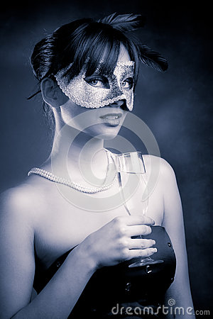 Mask and champagne