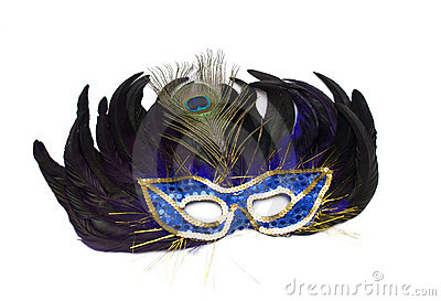 Mask from feathers on a white