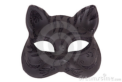 Mask in the form of the muzzle a cat on a white ba