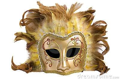 Mask from a golden  paper and feathers