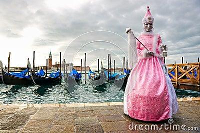 Mask with gondola, Venice Carnival.