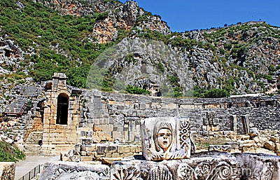 Mask, rock tombs and ancient theater