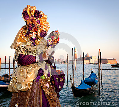Mask on Venetian carnival, Venice, Italy (2012) Editorial Photo