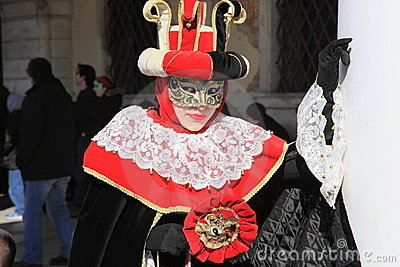 Masked lady at the Venice Carnival festival Editorial Stock Image
