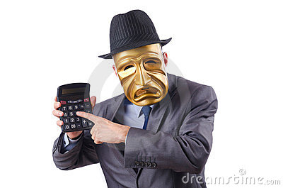 Masked man with calculator