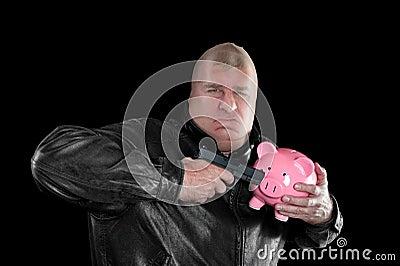 Masked man stealing piggybank