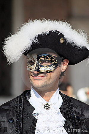 Masked performer at Venice Carnival Editorial Stock Photo