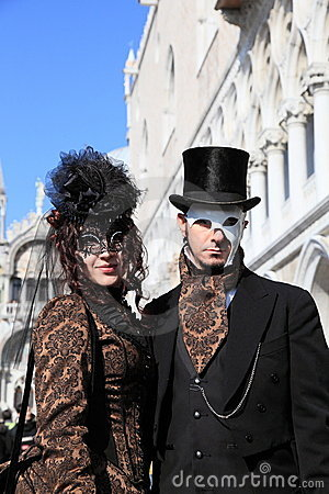 Masked performers at Venice carnival Editorial Stock Image