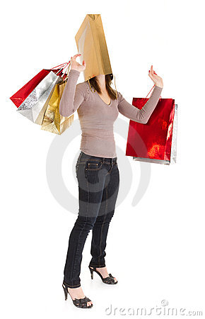 Masked shopping girl