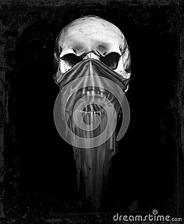 Masked silver grunge skull