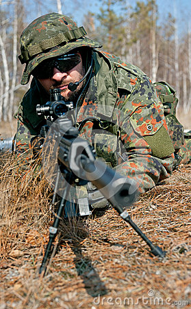 Free Masked Sniper Is Aiming At The Target During The Mission Royalty Free Stock Image - 64719626