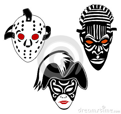 Masks, set of hockey, Venice and African