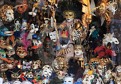Masks shop window in Venice Editorial Stock Image