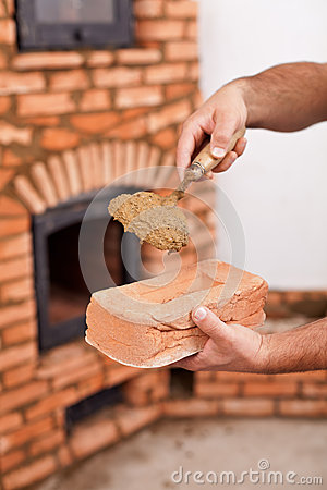 Free Masonry Worker Hands With Brick And Clay Mortar On Trowel Royalty Free Stock Photos - 37804098