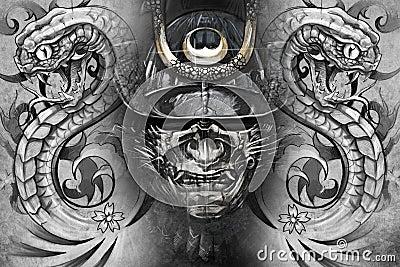 masque et serpents japonais conception de tatouage illustration stock image 39057623. Black Bedroom Furniture Sets. Home Design Ideas