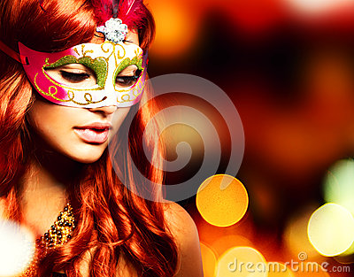 Masquerade. Girl in a Carnival mask