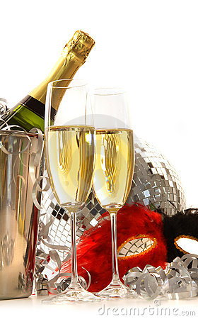 Masquerade Mask and champagne glasses on white