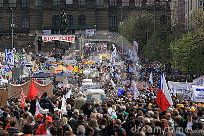 Mass demonstration in Prague Editorial Photo
