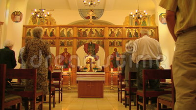 Mass in a Greek Orthodox Church stock footage