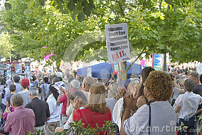Mass Moral Monday Political Protest Rally in Asheville Editorial Stock Image