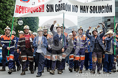 Mass rally in defense of the miners in Langreo Editorial Image