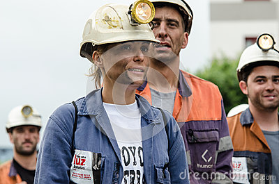 Mass rally in defense of the miners in Langreo Editorial Photography