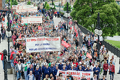 Mass rally in defense of the miners in Langreo Editorial Stock Image
