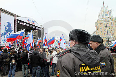 Mass youth action on the Triumphal Square Editorial Stock Photo