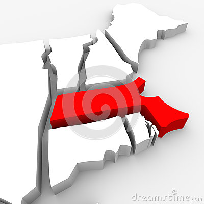 Massachusetts Red Abstract 3D State Map United States America