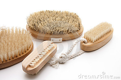 Massage brushes with bristles