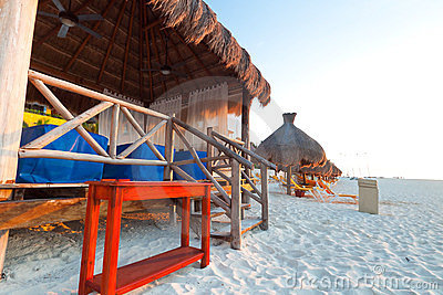 Massage hut on Caribbean beach