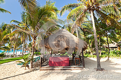 Massage hut at the Caribbean Sea