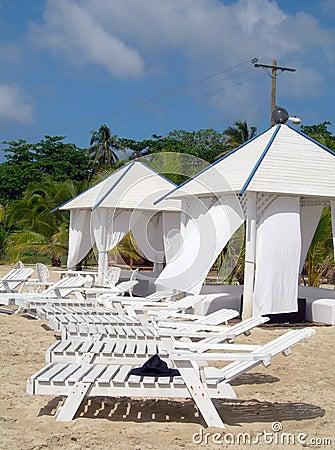 Massage huts on beach corn island nicaragua