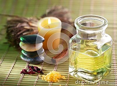 Massage oil in the spa salon