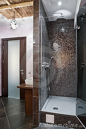 Massage room with shower in spa salon
