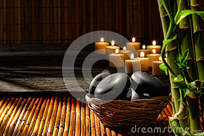 Massage Stones in Basket in Wellness Holistic Spa