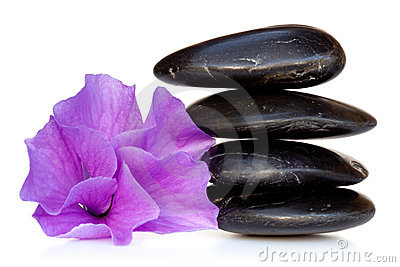 Massage Stones with Hibiscus Flower