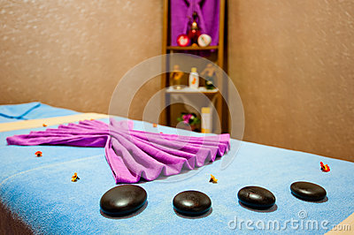 Massage table in the room Spa