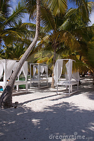 Massage tables on beach