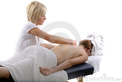 Massage therapist at work