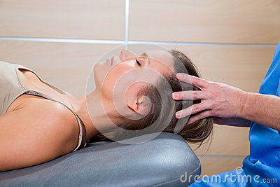 Massage therapy on cranial hear area by therapist