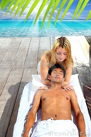 Massage therapy stretch head neck outdoor