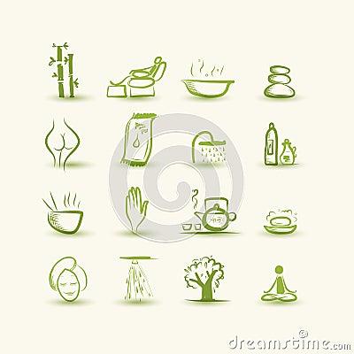 Massage und Badekurort, Satz Ikonen für Ihr Design
